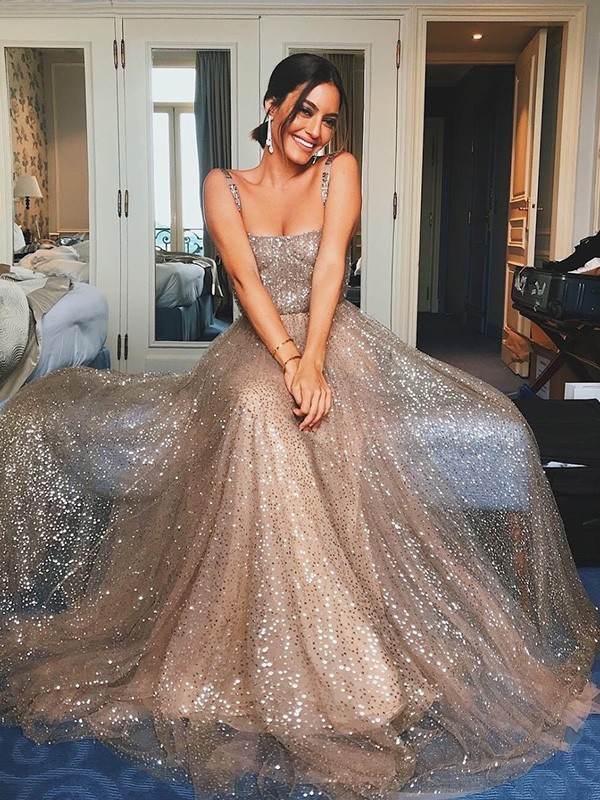 Champagne Tulle Straps A-Line/Princess Sweep/Brush Train Dresses