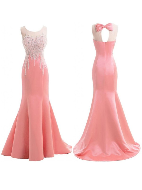 Pink Satin Scoop Trumpet/Mermaid Sweep/Brush Train Bridesmaid Dresses