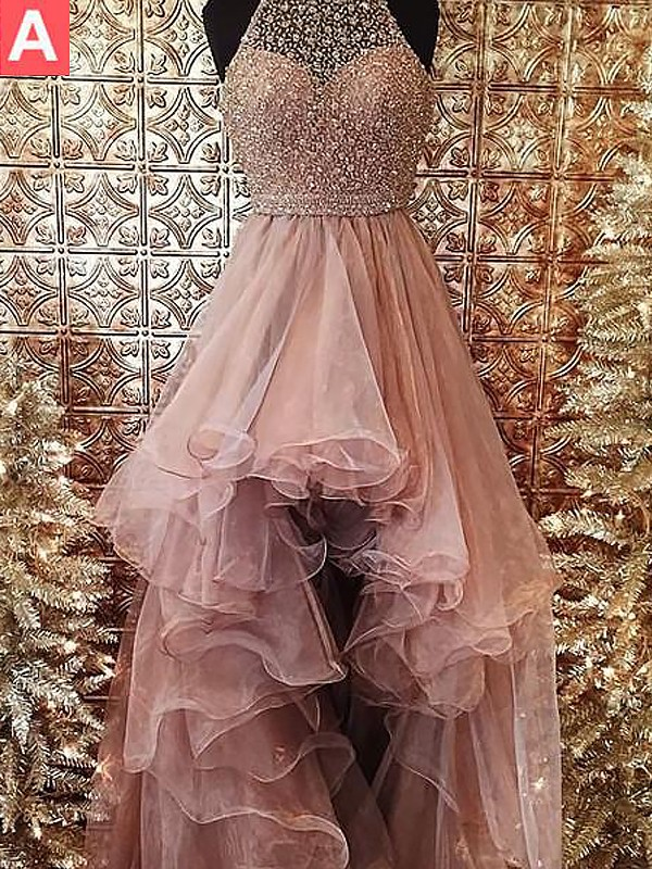 Pink Tulle Halter Ball Gown Asymmetrical Dresses
