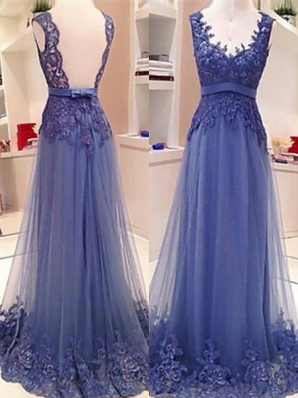 Blue Tulle V-neck A-Line/Princess Floor-Length Dresses
