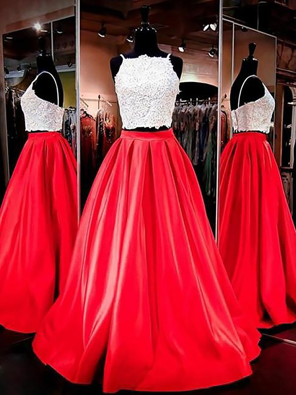 Red Satin Spaghetti Straps A-Line/Princess Floor-Length Dresses