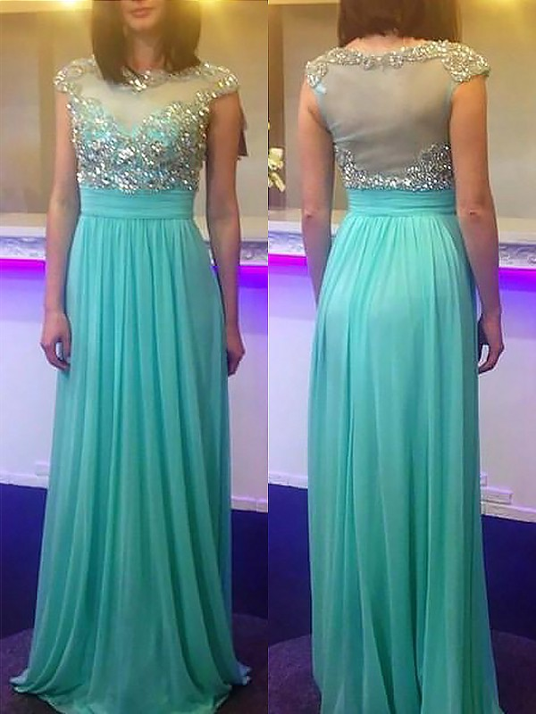 Green Chiffon Bateau A-Line/Princess Floor-Length Dresses