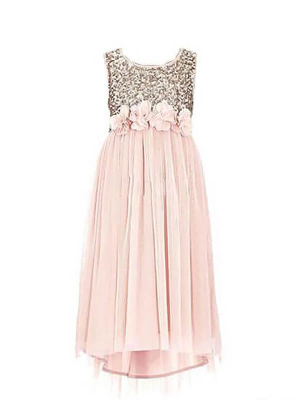 Pink Chiffon Scoop A-line/Princess Floor-Length Flower Girl Dresses