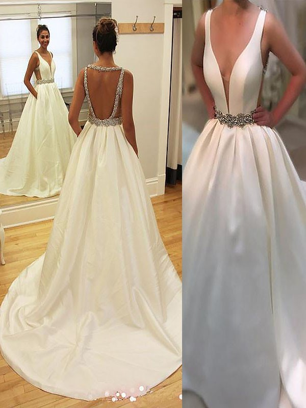 Ivory Satin V-neck A-Line/Princess Court Train Wedding Dresses