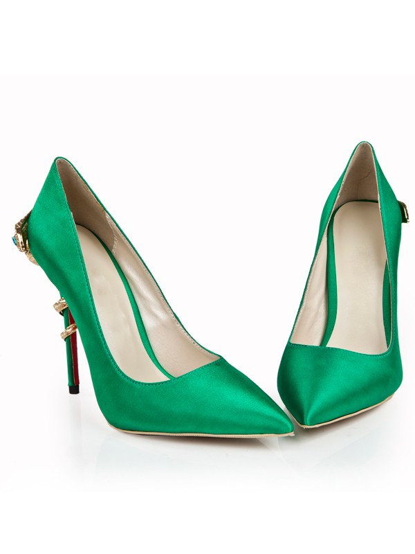 Bonnyin Green Pointed Toe High Heels