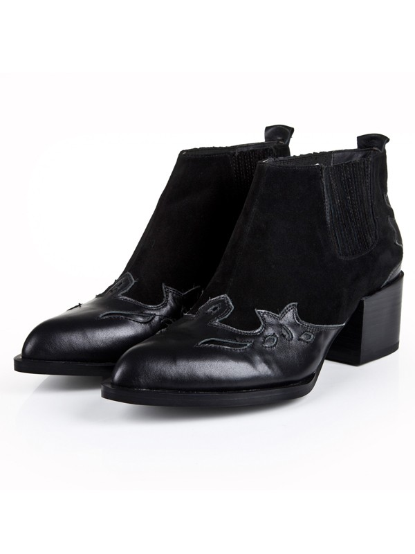 Bonnyin Black Thick Heel Cattlehide Leather Shoes