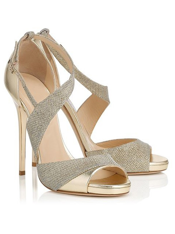 Bonnyin Gold Sheepskin Peep Toe High Heel Sandals