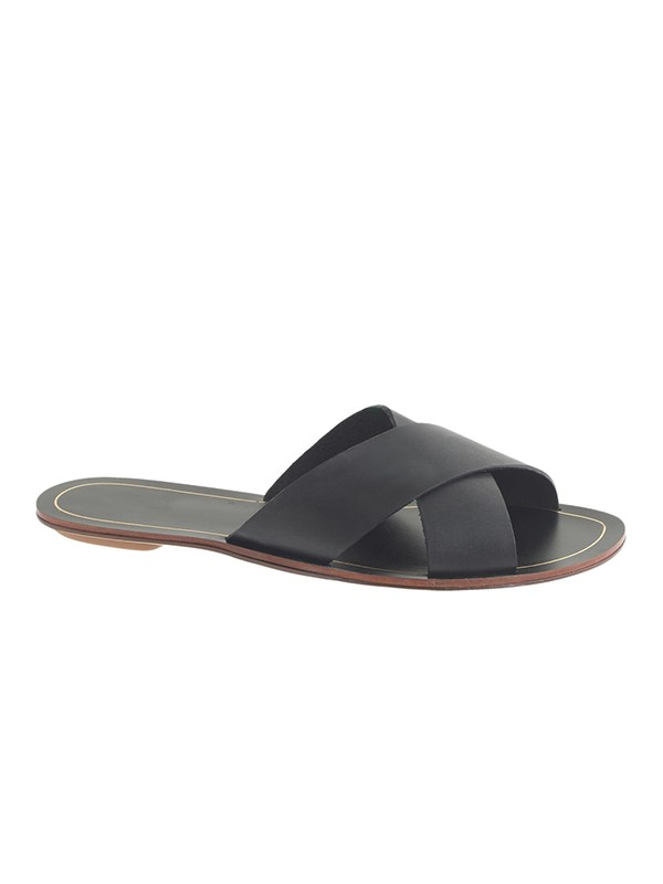 Bonnyin Black Sheepskin Flat Sandals