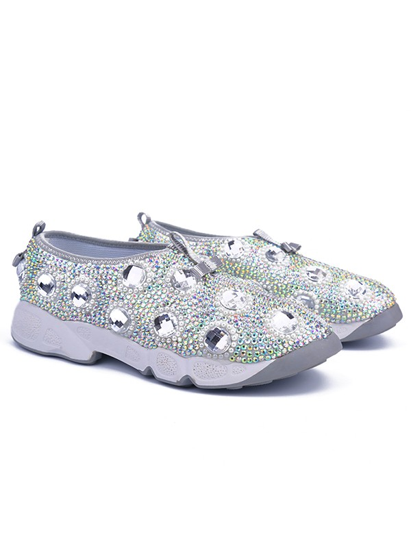 Bonnyin Silver Patent Leather Diamond Sports Shoes