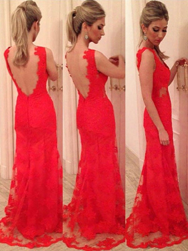 Red Lace V-neck Trumpet/Mermaid Floor-Length Dresses