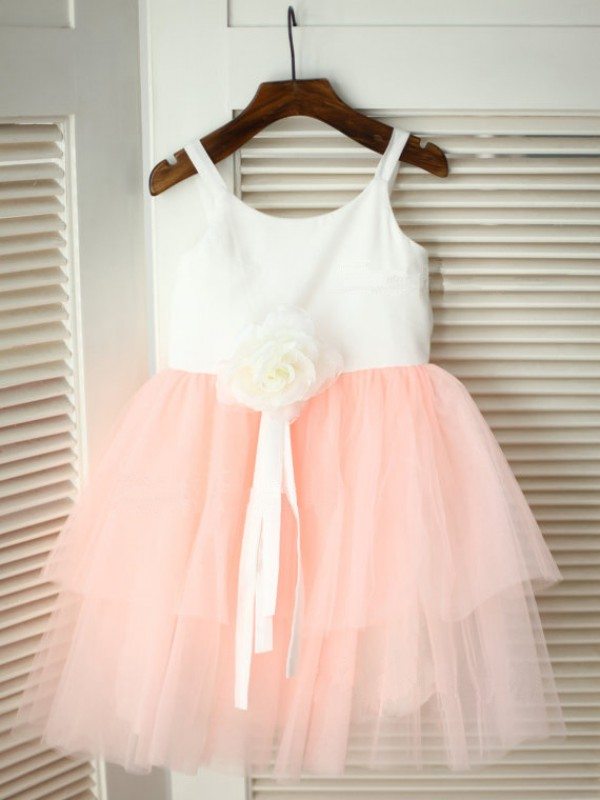 Pink Tulle Spaghetti Straps A-Line/Princess Tea-Length Flower Girl Dresses