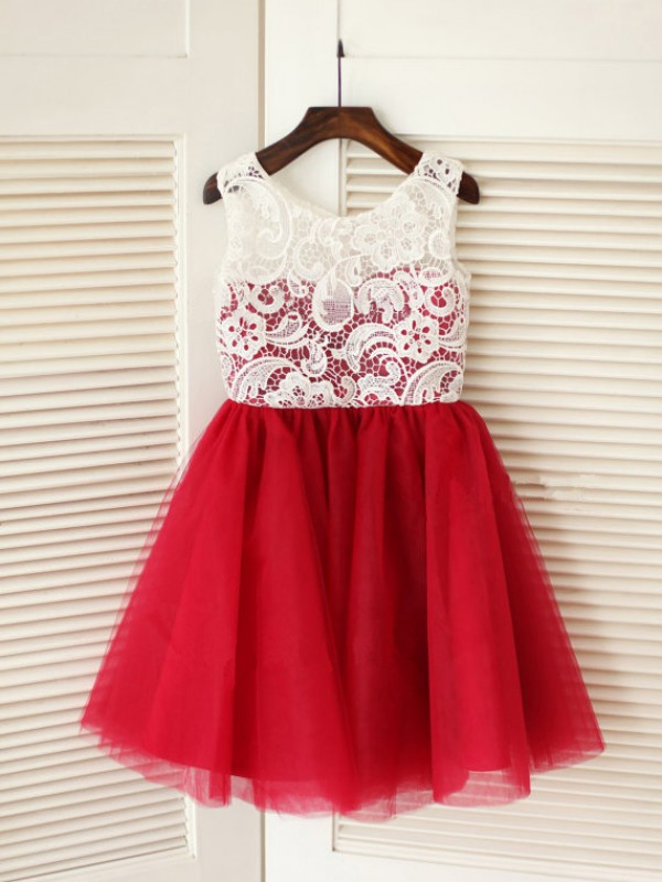 Red Tulle Scoop A-Line/Princess Knee-Length Flower Girl Dresses