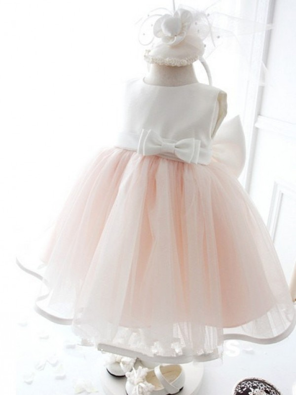 Pink Organza Jewel Ball Gown Tea-Length Flower Girl Dresses
