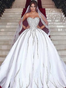 White Satin Sweetheart Ball Gown Sweep/Brush Train Wedding Dresses