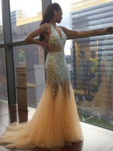 Champagne Tulle Halter Trumpet/Mermaid Court Train Dresses