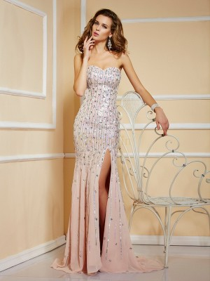 Pearl Pink Chiffon Strapless A-Line/Princess Sweep/Brush Train Dresses