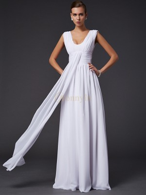 White Chiffon Jewel A-Line/Princess Floor-Length Dresses