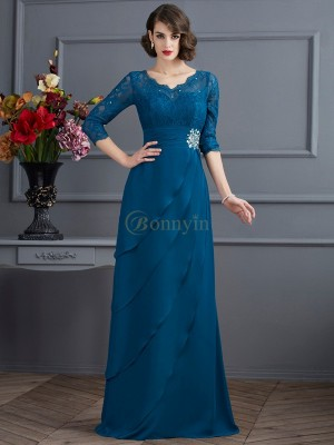 Dark Green Chiffon V-neck A-Line/Princess Floor-Length Dresses