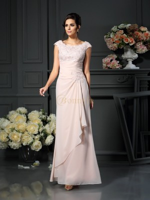 Pearl Pink Chiffon Scoop A-Line/Princess Floor-Length Mother of the Bride Dresses