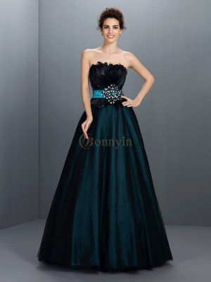 Dark Green Elastic Woven Satin Strapless Ball Gown Floor-Length Prom Dresses