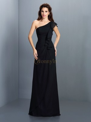 Black Chiffon One-Shoulder Sheath/Column Floor-Length Bridesmaid Dresses