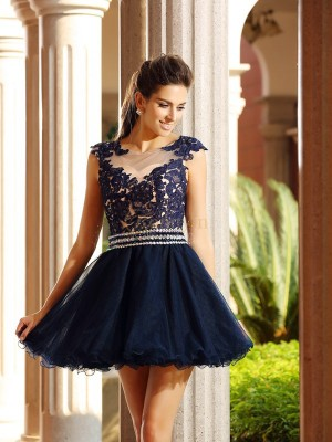 Dark Navy Tulle Scoop A-Line/Princess Short/Mini Dresses