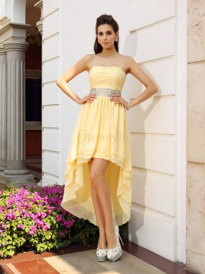 Yellow Chiffon Strapless A-Line/Princess Asymmetrical Dresses