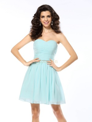 Blue Chiffon Sweetheart A-Line/Princess Short/Mini Dresses