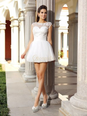 White Satin Scoop A-Line/Princess Short/Mini Dresses