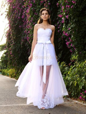 White Tulle Sweetheart Trumpet/Mermaid Floor-Length Wedding Dresses