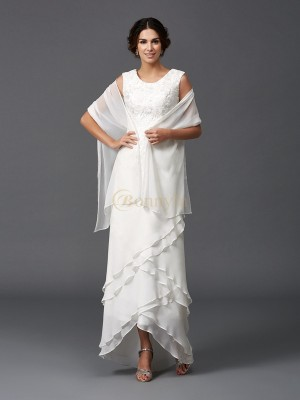 Ivory Chiffon Scoop A-Line/Princess Asymmetrical Mother of the Bride Dresses