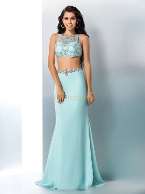 Light Sky Blue Chiffon Scoop Trumpet/Mermaid Sweep/Brush Train Prom Dresses