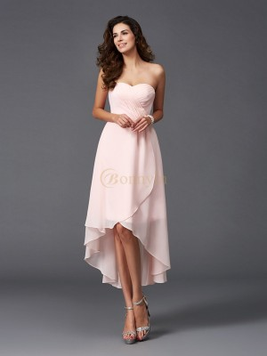 Pearl Pink Chiffon Sweetheart A-Line/Princess Asymmetrical Bridesmaid Dresses