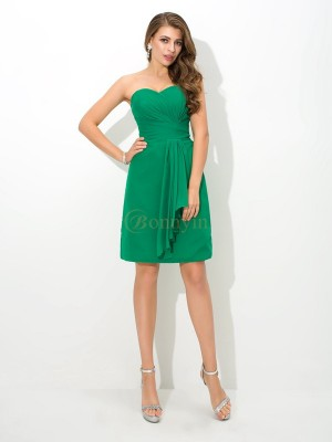 Green Chiffon Sweetheart Sheath/Column Short/Mini Bridesmaid Dresses