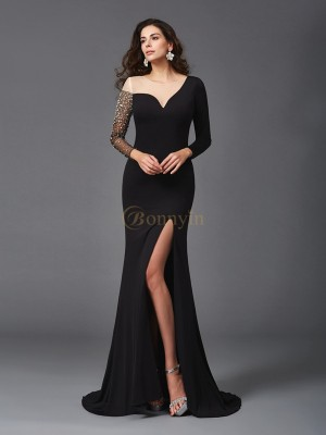 Black Spandex Scoop Sheath/Column Sweep/Brush Train Evening Dresses
