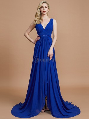 Royal Blue Chiffon V-neck A-Line/Princess Sweep/Brush Train Bridesmaid Dresses