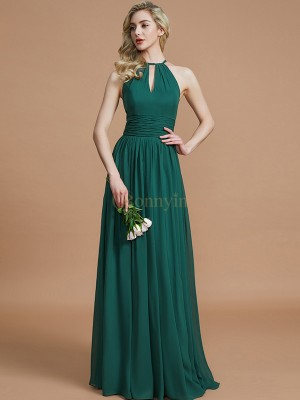 Dark Green Chiffon Scoop A-Line/Princess Floor-Length Bridesmaid Dresses