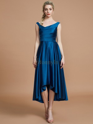 Dark Navy Satin V-neck A-Line/Princess Asymmetrical Bridesmaid Dresses