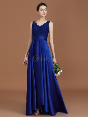 Royal Blue Satin V-neck A-Line/Princess Asymmetrical Bridesmaid Dresses