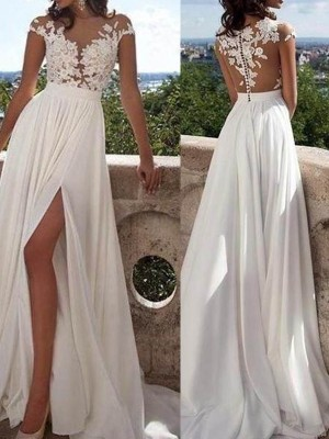 Ivory Chiffon Scoop A-Line/Princess Sweep/Brush Train Prom Dresses