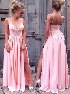 Pink Silk like Satin Straps A-Line/Princess Floor-Length Dresses