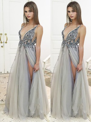 Silver Tulle V-Neck A-Line/Princess Floor-Length Dresses