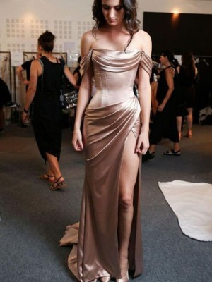 Brown Silk like Satin Off-the-Shoulder Sheath/Column Sweep/Brush Train Dresses