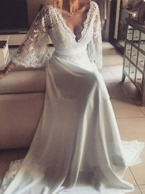Ivory Lace V-neck A-Line/Princess Court Train Wedding Dresses