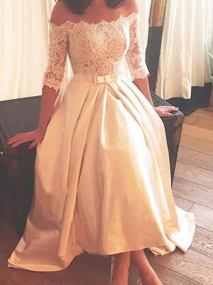 Champagne Satin Off-the-Shoulder A-Line/Princess Asymmetrical Wedding Dresses