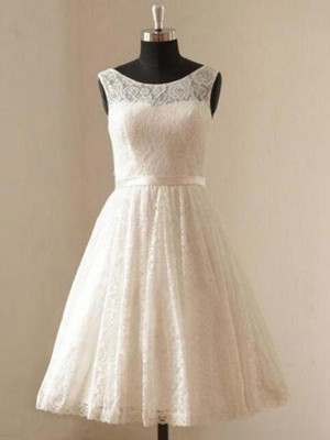 Ivory Lace Scoop A-Line/Princess Knee-Length Wedding Dresses