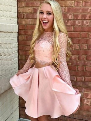 Pink Satin High Neck A-Line/Princess Short/Mini Two Piece Dresses