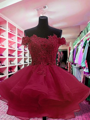Red Organza Off-the-Shoulder Ball Gown Short/Mini Dresses