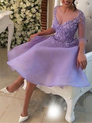 Lilac Organza V-neck A-Line/Princess Knee-Length Dresses