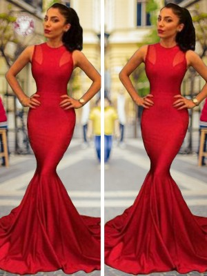 Red Elastic Woven Satin Jewel Trumpet/Mermaid Court Train Dresses